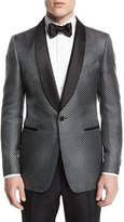 Tom Ford Buckley-Base Textured-Mesh Tuxedo Jacket, Gray/Black