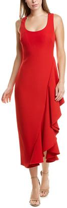 Badgley Mischka Side Ruffle Midi Dress