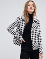 Helene Berman Gingham Biker Jacket