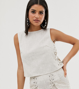 Outrageous Fortune Tall lace up side crop top in sand-Cream
