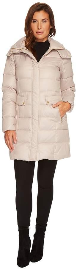Cole Haan Quilted Down Coat w/ Detachable Hood Women's Coat