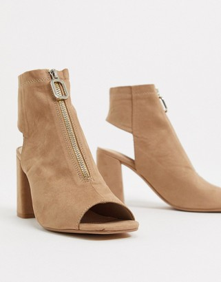 Pimkie faux suede zip front shoe boots in taupe