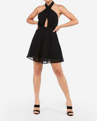 Express Cross Neck Halter Fit And Flare Dress