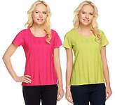Denim & Co. Set of 2 Wide Rib Short Sleeve T-shirts