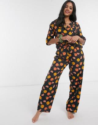 ASOS DESIGN mix & match 100% modal orange print pyjama pant
