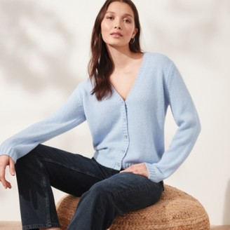 The White Company Button Through Cardigan with Alpaca, Sky Blue, Extra Small