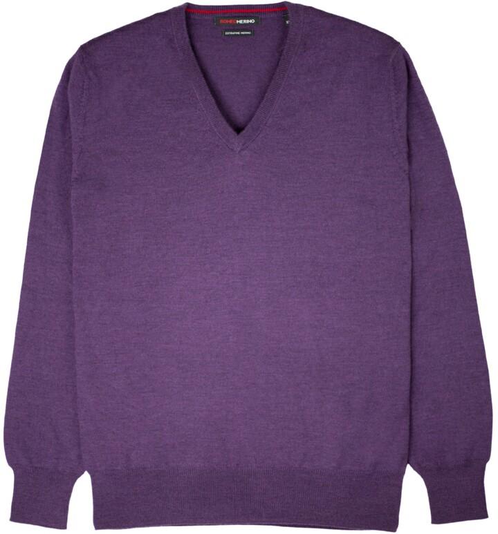Thumbnail for your product : Romeo Merino - Merino Wool V-Neck Sweater Aubergine