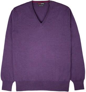 Romeo Merino - Merino Wool V-Neck Sweater Aubergine