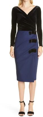 Chiara Boni Faux Wrap Long Sleeve Cocktail Dress