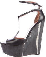 Alaia Leather T-Strap Wedges