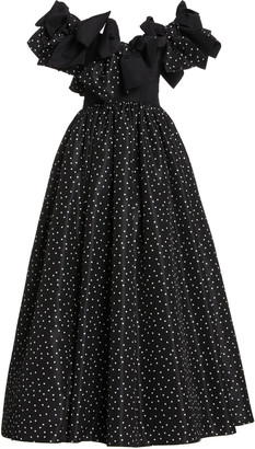 Carolina Herrera Bow Detail Dot Print Silk Taffeta Gown