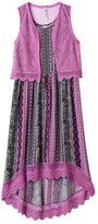 Knitworks Girls Plus Size Crochet Maxi Dress & Vest