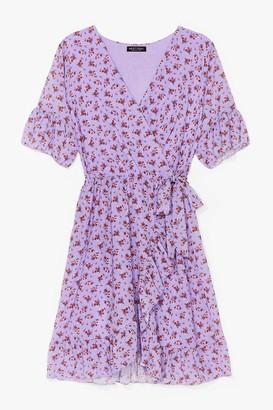 Nasty Gal Womens Good to Grow Floral Wrap Mini Dress - Lilac