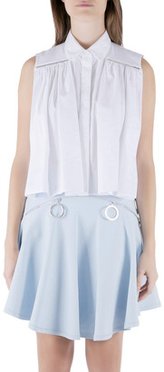Christopher Kane White Cotton Metal Bar Embellished Sleeveless Shirt M