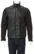 Emporio Armani Leather Zip-Up Jacket w/ Tags