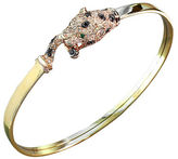 Effy 14K Yellow Gold White And Black Diamond And Emerald Bangle