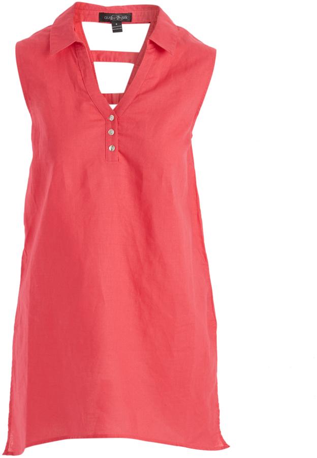 August Silk Exotic Rose Linen-Blend Cutout Tunic