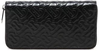 Burberry Monogram Embossed Zip-Around Wallet