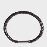 Paul Smith Men's Black Leather Plaited Bracelet