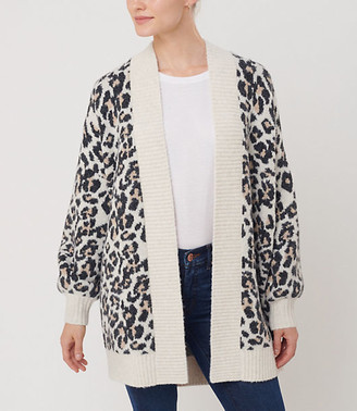 LOFT Leopard Print Open Cardigan