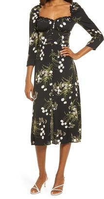 Reformation Fairway Long Sleeve Midi Dress