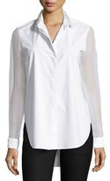 Elie Tahari Delma Embellished Button-Front Blouse, White