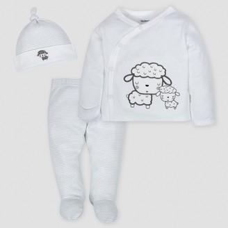 Gerber Baby Sheep 3pc Side-Snap Shirt, Footed Pants and Cap Set - 0-3M