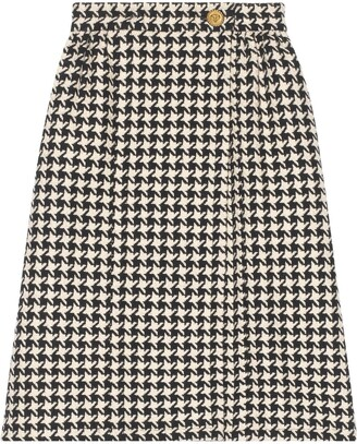 Gucci Houndstooth Tweed Skirt