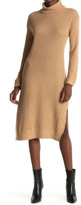 Stitchdrop Turtle Rib Knit High Slit Dress