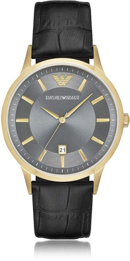 Emporio Armani Gold-tone PVD Stainless Steel Men's Quartz Watch w/Croco Embossed Leather Strap