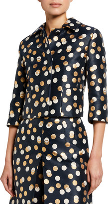 Akris Punto Metallic Dot Jacquard Cropped Jacket