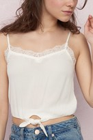 Garage Tie Front Crop Cami With Lace
