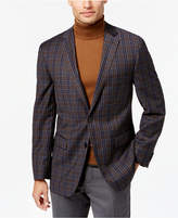 Vince Camuto Men's Slim-Fit Gray/Brown/Blue Multi-Plaid Wool Sport Coat