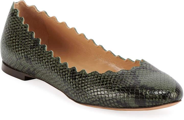 fb6e34f4 Lauren Scalloped Snake-Print Ballet Flats