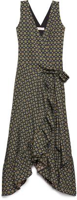 Tory Burch Medallion Print Sleeveless Ruffle Wrap Dress