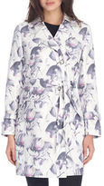 London Fog Floral-Print Belted Trench Coat
