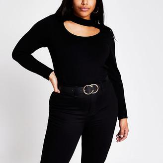 River Island Plus black cut out choker knitted jumper
