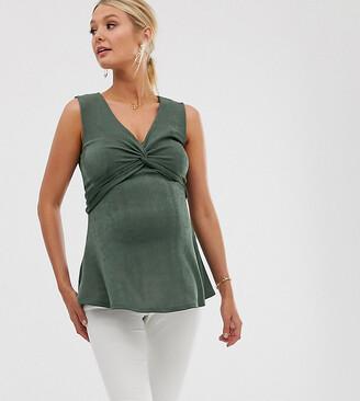 Asos Nursing DESIGN Maternity nursing slinky twist front top in khaki-Green
