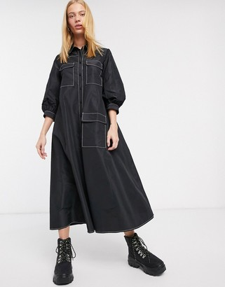 ASOS DESIGN midi trapeze shirt dress in tafetta with contrast stitching in black
