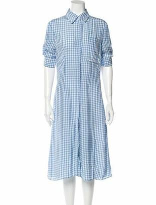 Altuzarra Plaid Print Midi Length Dress Blue