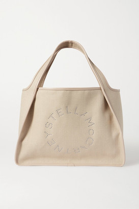 Stella McCartney Eyelet-embellished Vegetarian Leather-trimmed Linen-canvas Tote - Cream