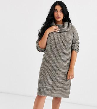 Brave Soul Plus soda cowl neck sweater dress in gray