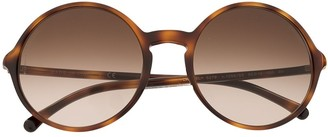 Chanel Pre Owned Tortoiseshell Round Sunglasses