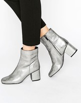 Warehouse Metallic Heeled Ankle Boot