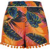 River Island Womens Orange leaf print pom pom tassel hem shorts