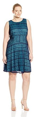 London Times Women's Plus Size Sleeveless Round Neck Lace Fit & Flare Dress