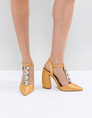 Asos Design PEACOCK Embellished High Heels-Yellow