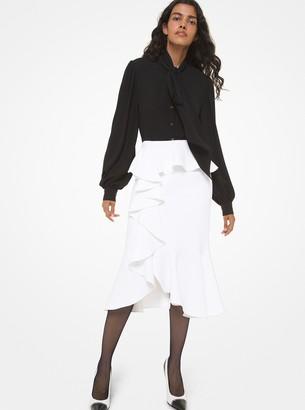 Michael Kors Double Crepe Sable Cascade Ruffle Skirt