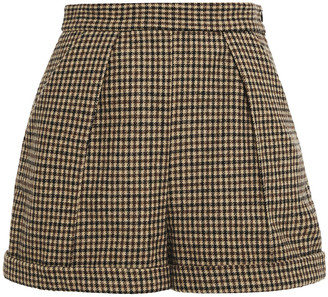 Maje Ilro Houndstooth Wool-blend Felt Shorts