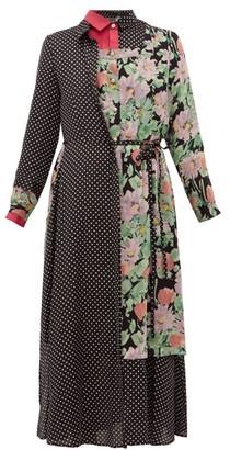 Junya Watanabe Ester Polka-dot And Floral-print Patchwork Dress - Black Multi